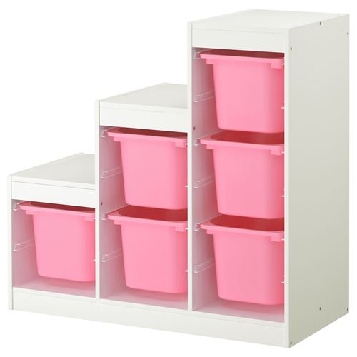 trofast saklama nitesi beyaz pembe 99x44x94 cm ikea. Black Bedroom Furniture Sets. Home Design Ideas