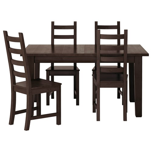 kaustby dining table and chairs blackbrown 147 cm ikea dining room