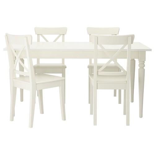 ingatorp yemek masas ve sandalye seti beyaz 155 cm ikea mutfaklar. Black Bedroom Furniture Sets. Home Design Ideas