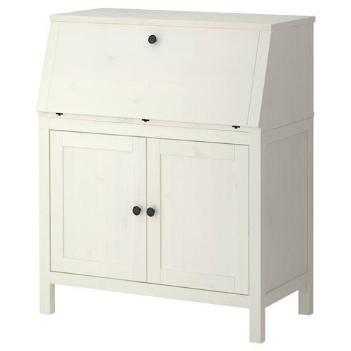 Hemnes al ma masas beyaz vernik 89x107 cm ikea for Ikea bureau secretaire