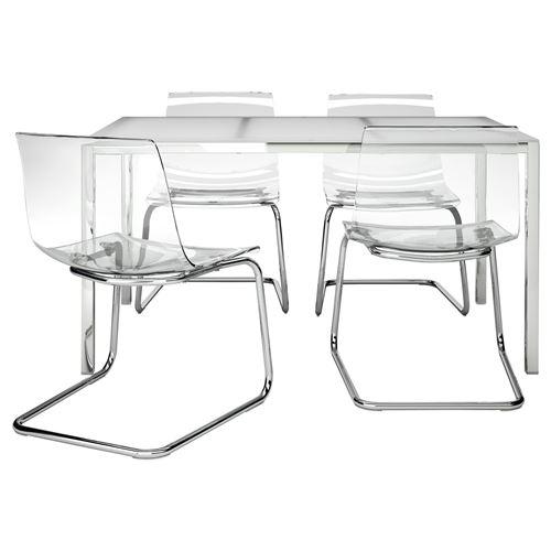 torsby tobias yemek masas ve sandalye seti beyaz effaf 135 cm ikea mutfaklar. Black Bedroom Furniture Sets. Home Design Ideas