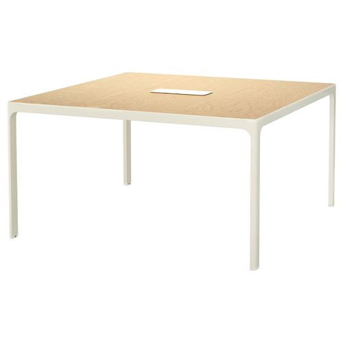 Bekant conference table birch veneer white 140x140 cm for Hover tr table