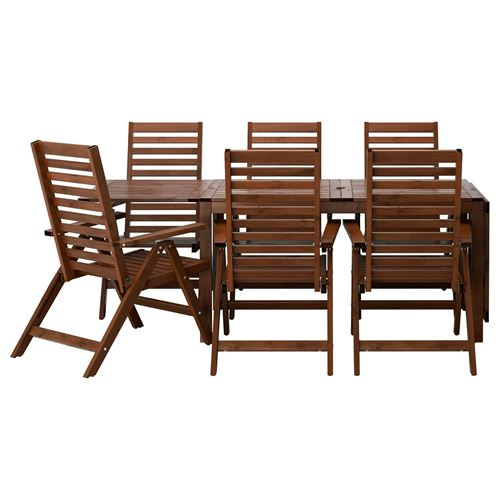 Applar dining table and adjustable chairs brown ikea for Hover tr table
