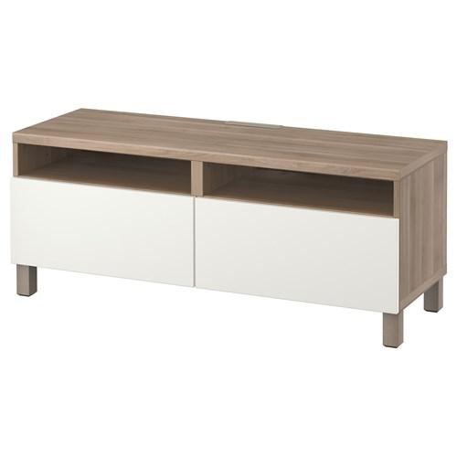 besta lappviken tv bench grey stained walnut effect white push open rail 120x40x48 cm ikea tv. Black Bedroom Furniture Sets. Home Design Ideas