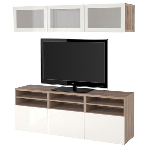 besta selsviken tv storage unit grey walnut effect high