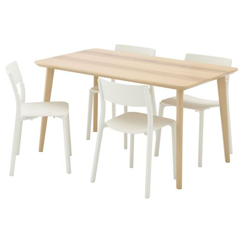 Lisabo dining table and chairs ash veneer white ikea dining room - Table cuisine ikea pliante ...