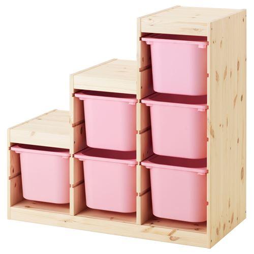 TROFAST storage-unit pine/pink 94x44x91 cm