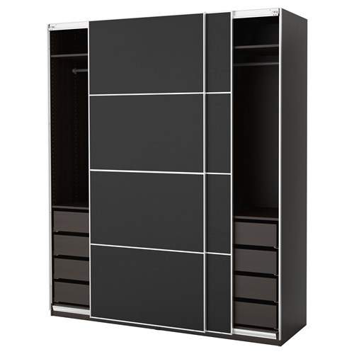 pax ilseng sliding door wardrobe blackbrown 200x66x236 cm ikea bedroom. Black Bedroom Furniture Sets. Home Design Ideas