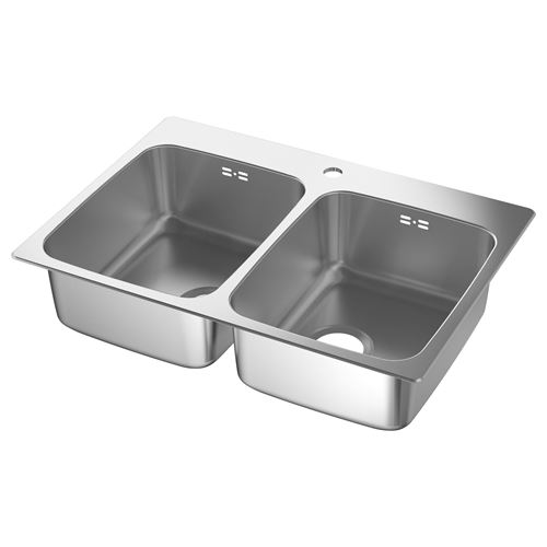 LANGUDDEN Double-bowl Insert Sink Stainless Steel 75x52.5
