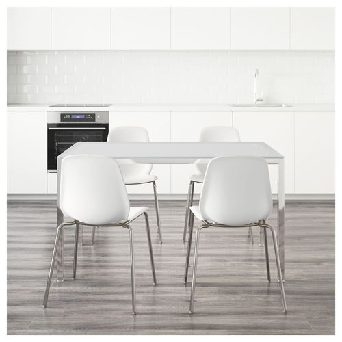 Torsby leifarne dining table and chairs glass white white for Hover tr table