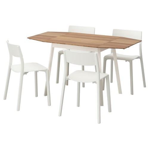 ikea ps 2012 yemek masas ve sandalye seti bambu beyaz 138 cm ikea yemek odalar. Black Bedroom Furniture Sets. Home Design Ideas