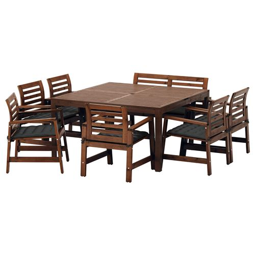 APPLAR Dining Table And Chairs Brown Hall Black IKEA