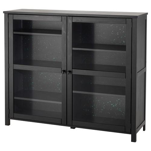 Sallskap glass door cabinet black 140x120 cm ikea dining for Sideboard glasfront