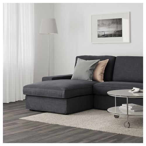 Kivik 3 seat sofa and chaise longue hillared anthracite for 3 seat chaise sofa