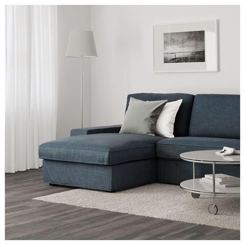 Kivik 3 seat sofa and chaise longue hillared dark blue for 2 chaise longues three seat sofa