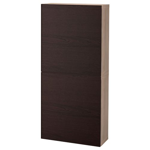 besta inviken wall cabinet grey stained walnut effect black brown 60x20x128 cm ikea tv and. Black Bedroom Furniture Sets. Home Design Ideas