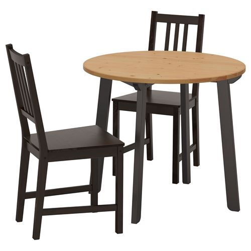 Gamlared stefan dining table and chairs light antique for Hover tr table