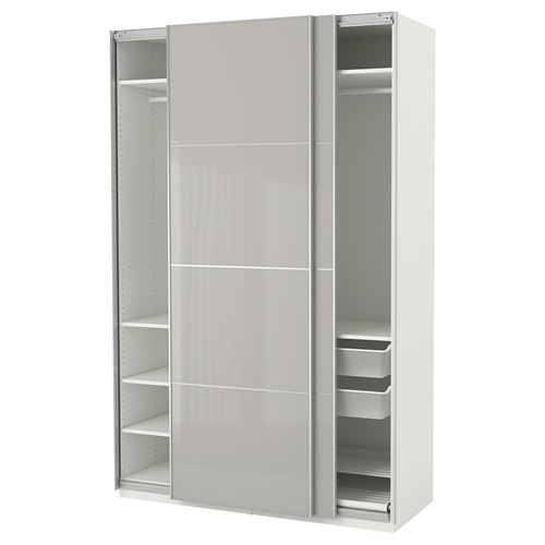 Pax hokksund wardrobe white high gloss light grey for Chene blanchi ikea