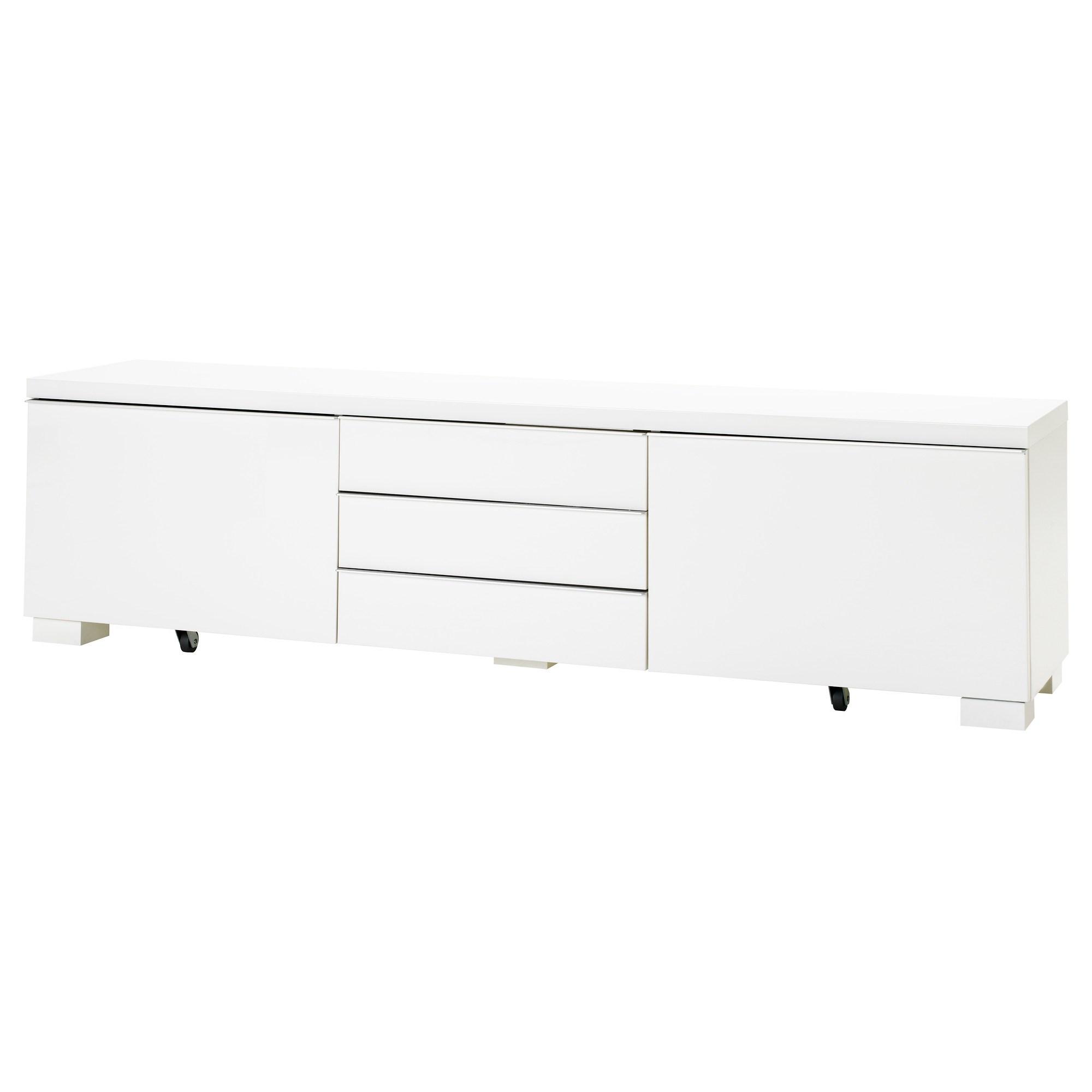 Besta Burs Tv Bench High Gloss White