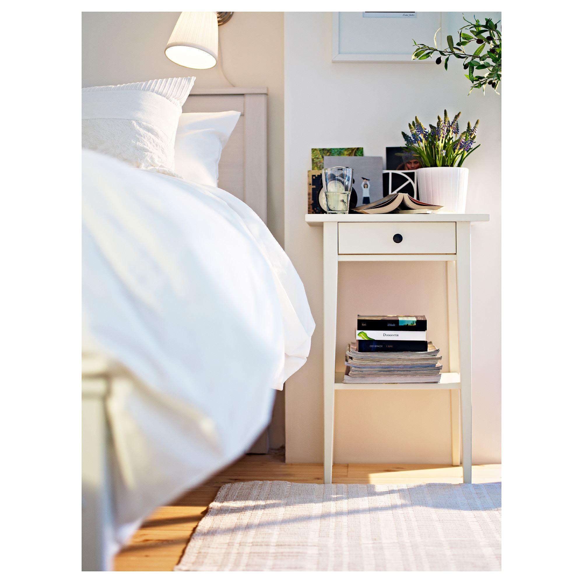 Hemnes Bedside Table White 46x35x70 Cm Ikea Bedroom