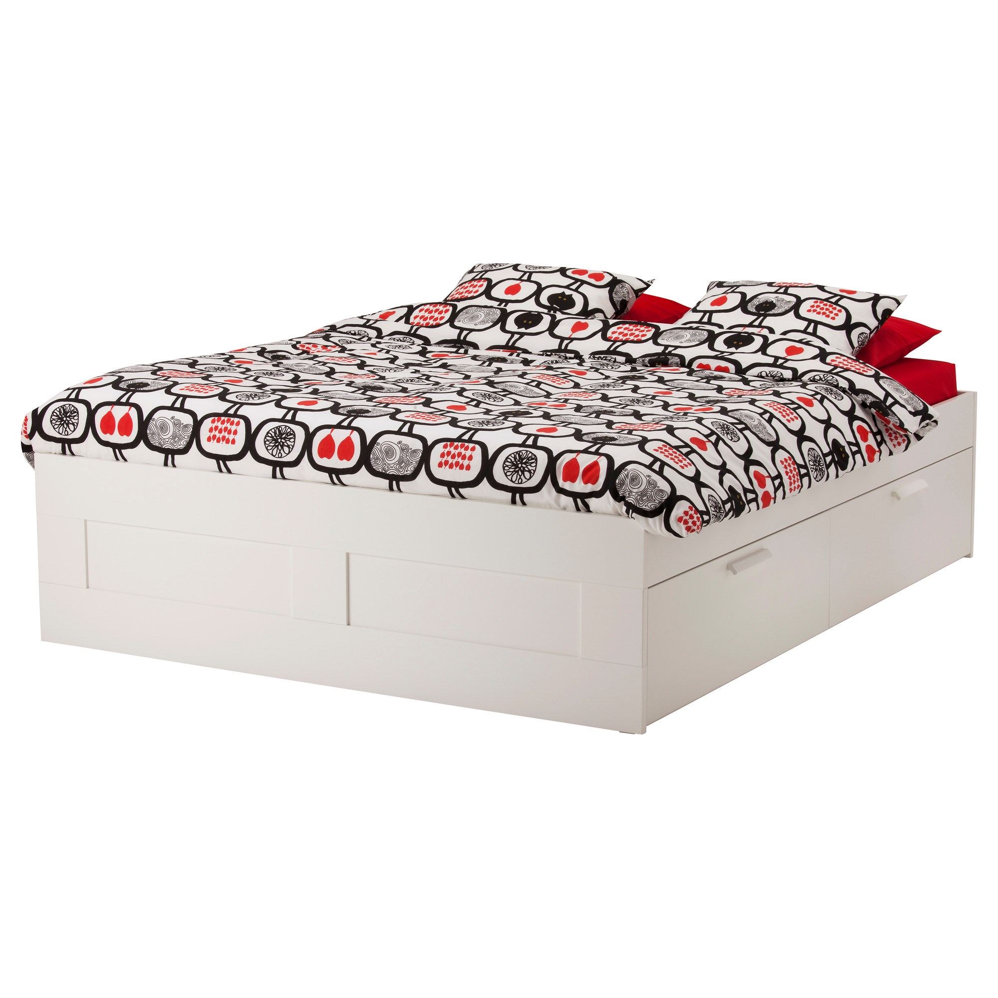 BRIMNES/LURÖY double bed with 4 storage boxes white 160x200 cm ...