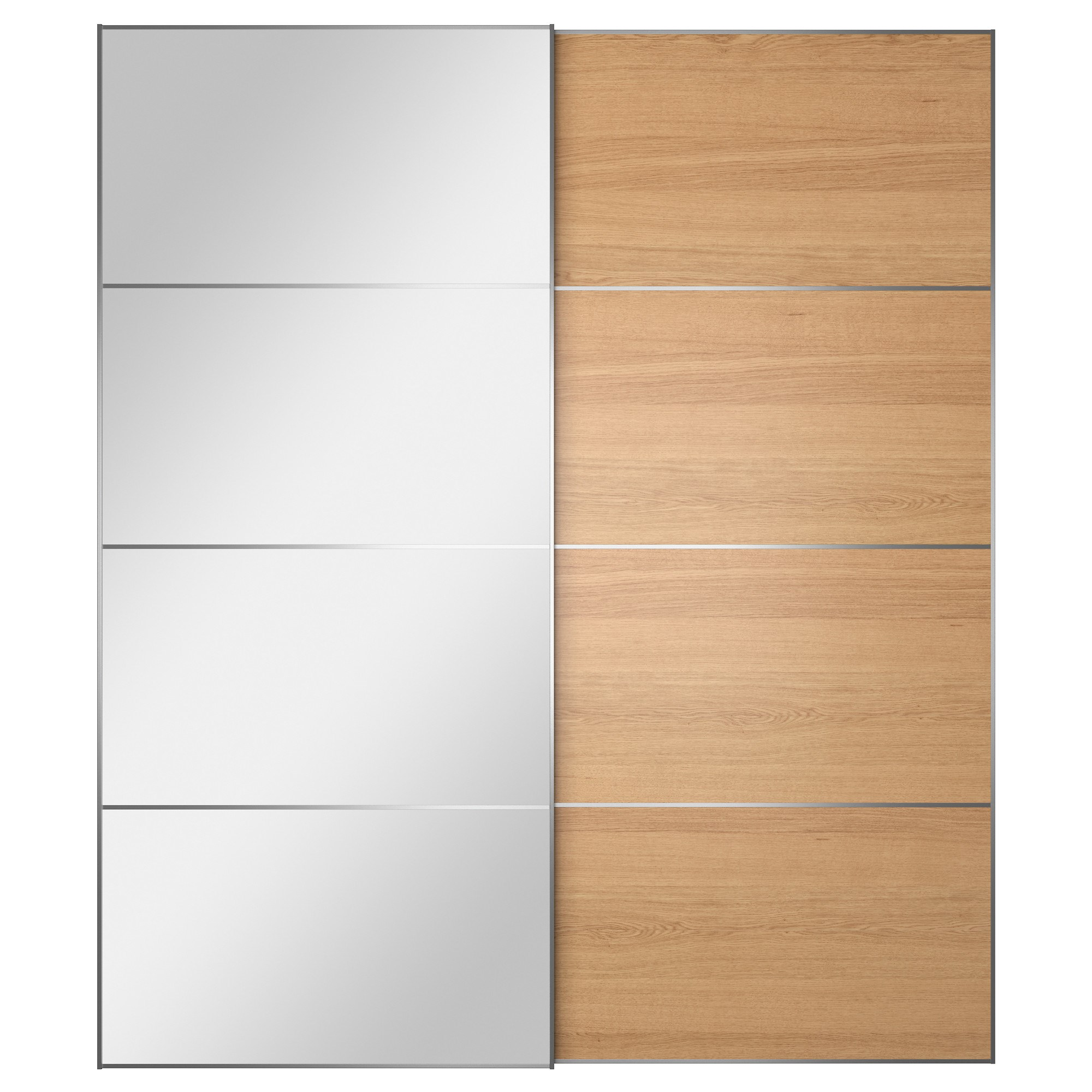AULI/ILSENG pair of sliding doors oak veneer/mirror 200x236 cm ...