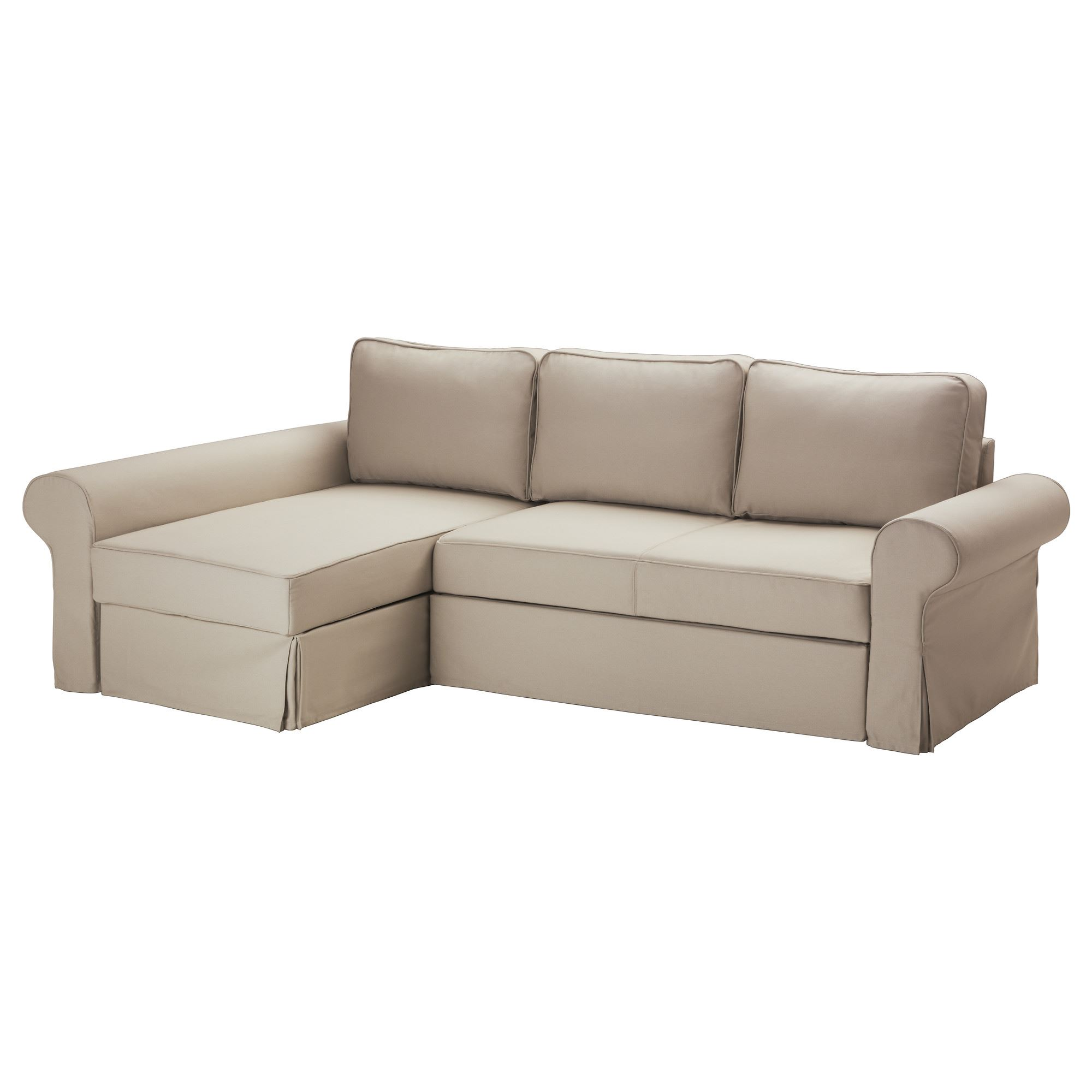 BACKABRO MARIEBY 2 seat sofa bed with chaise longue tygelsjo beige