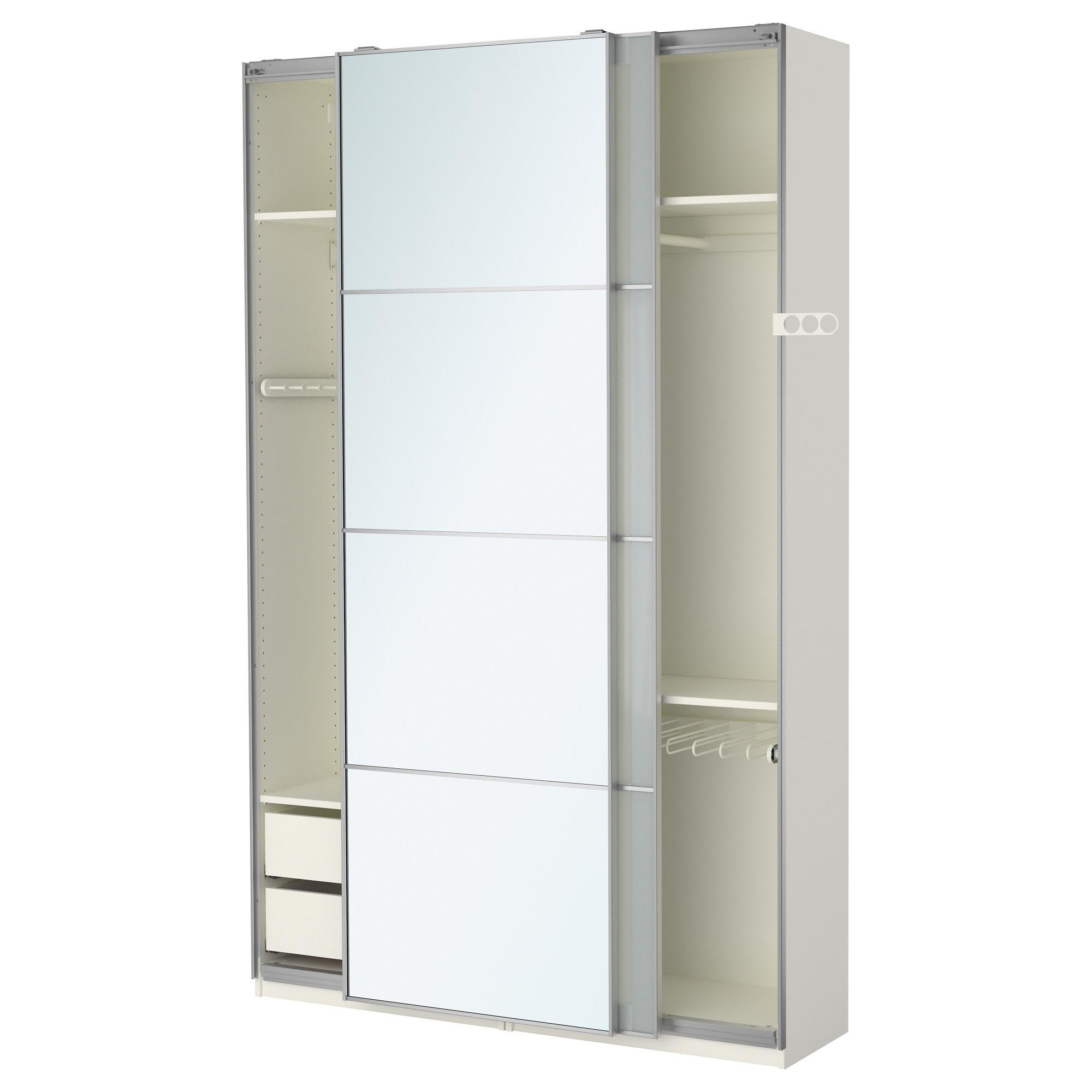 pax sekken sliding door wardrobe white mirror 150x44x236 cm ikea