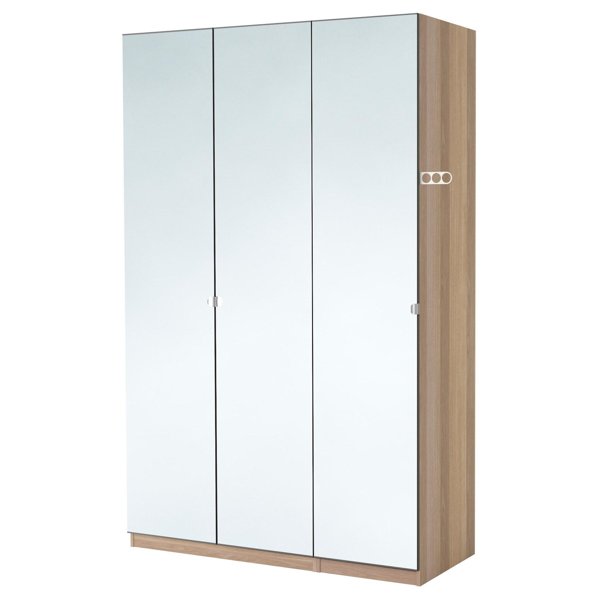 PAX/VIKEDAL wardrobe white stained oak effect/mirror