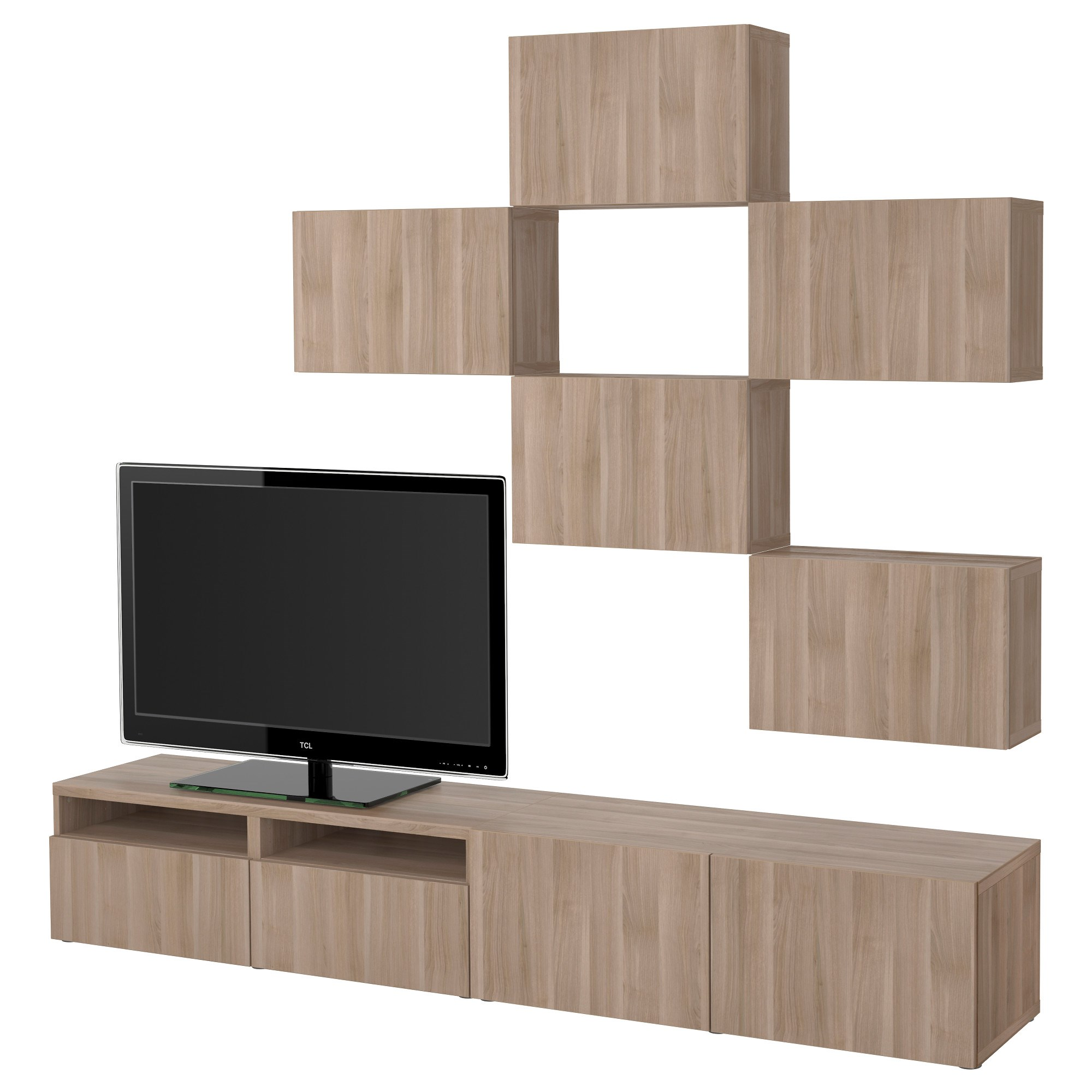 Besta Lappviken Tv Storage Unit Grey Walnut Effect Soft Closing  # Besta Ikea Meuble Tv
