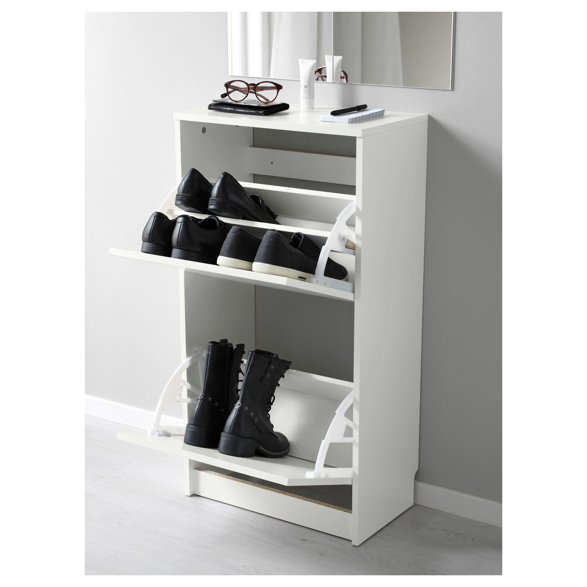 BISSA shoe cabinet/storage white 49x28x93 cm | IKEA Hallway