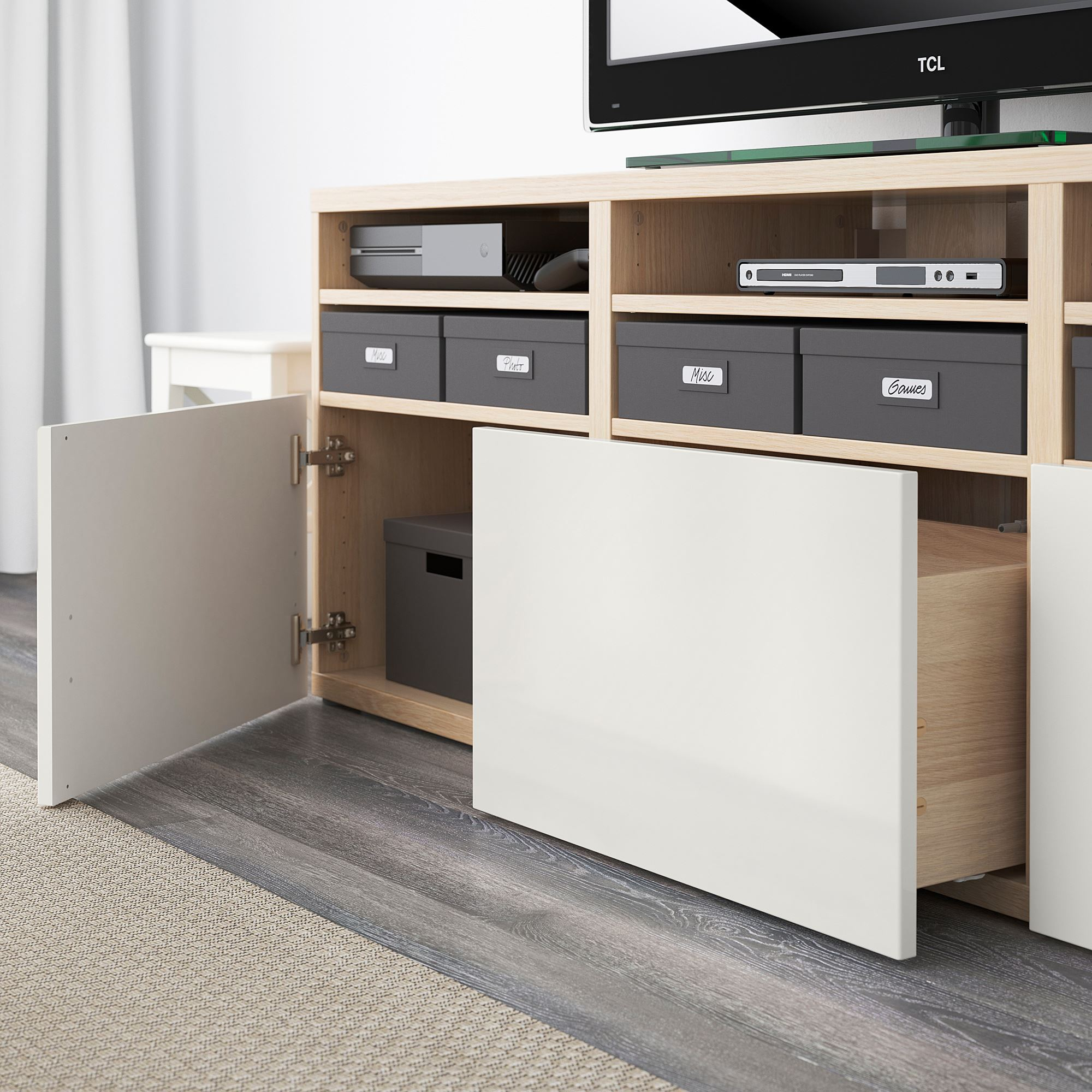Family Living Room Design Ideas That Will Keep Everyone Happy: BESTA/SELSVIKEN Tv Storage Unit White Stained Oak Effect