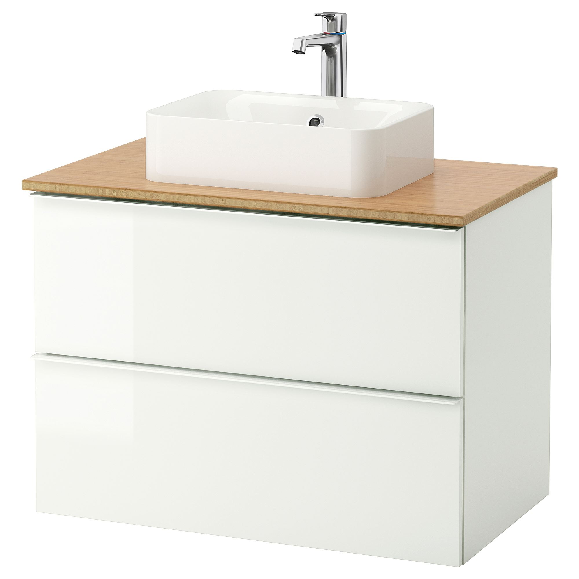 GODMORGON/TOLKEN/HÖRVIK wash-basin and cabinet high-gloss white ...