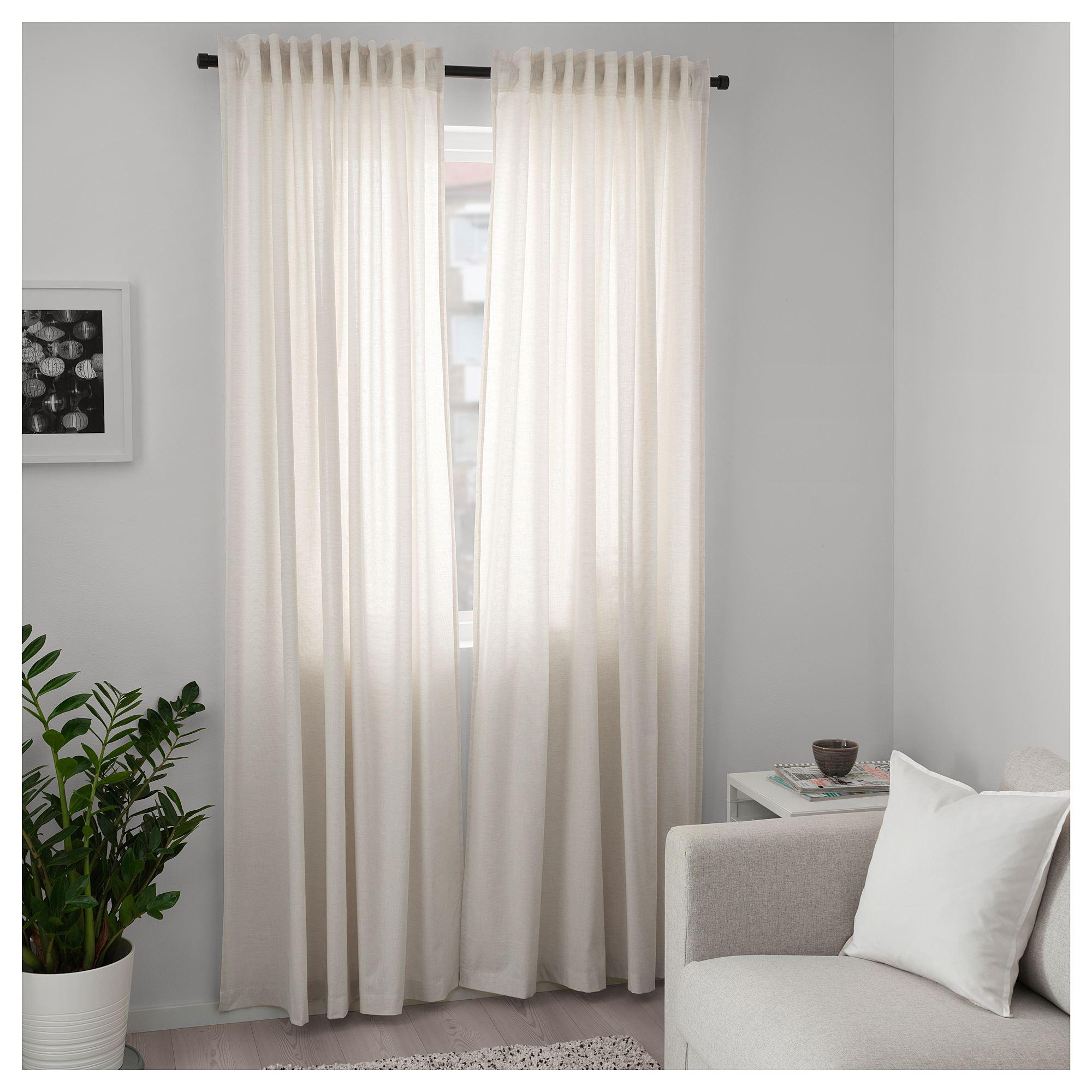 Hannalill Curtains 1 Pair Beige 145x300 Cm Ikea Home