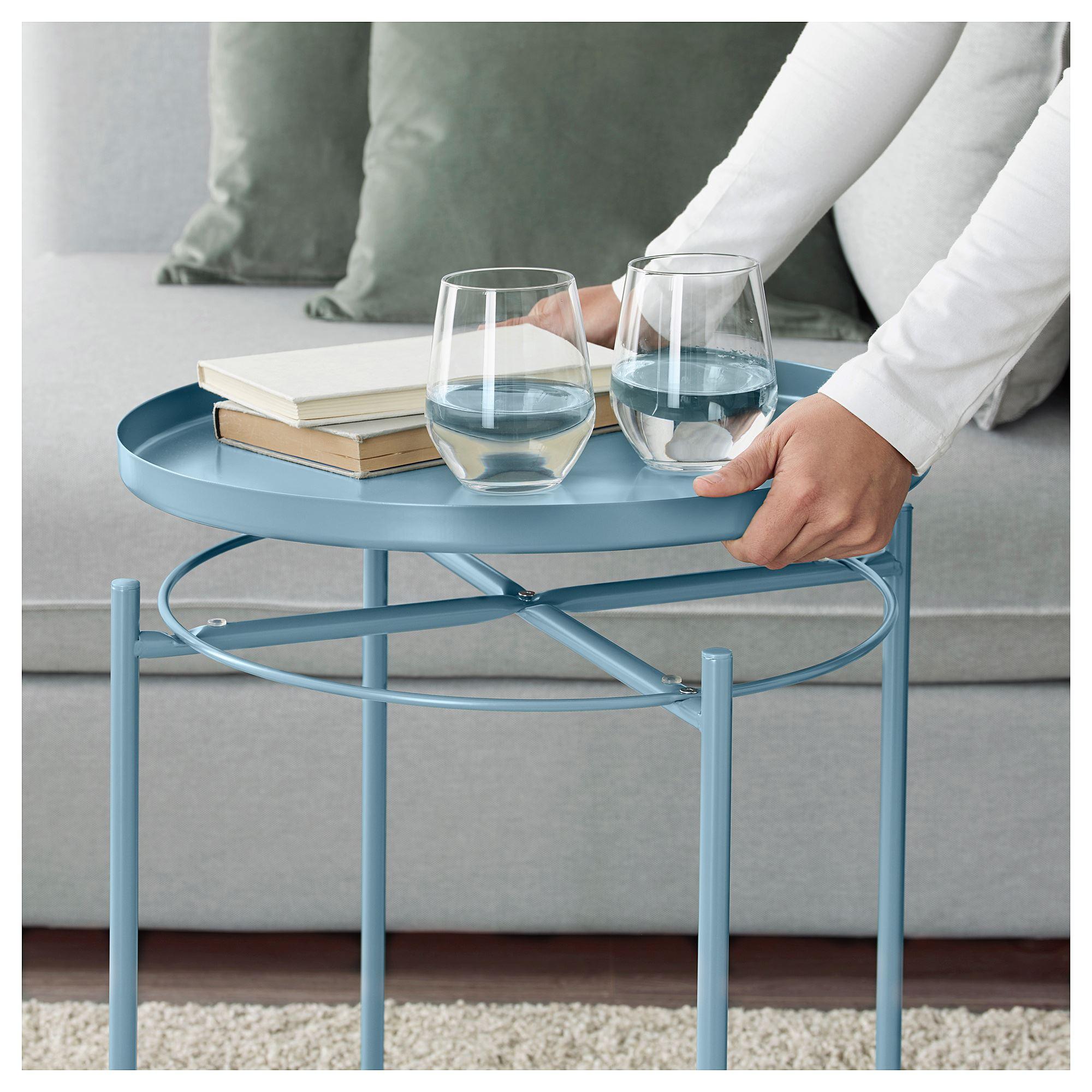 Gladom Tepsili Sehpa Mavi 45x53 Cm Ikea Oturma Odalari