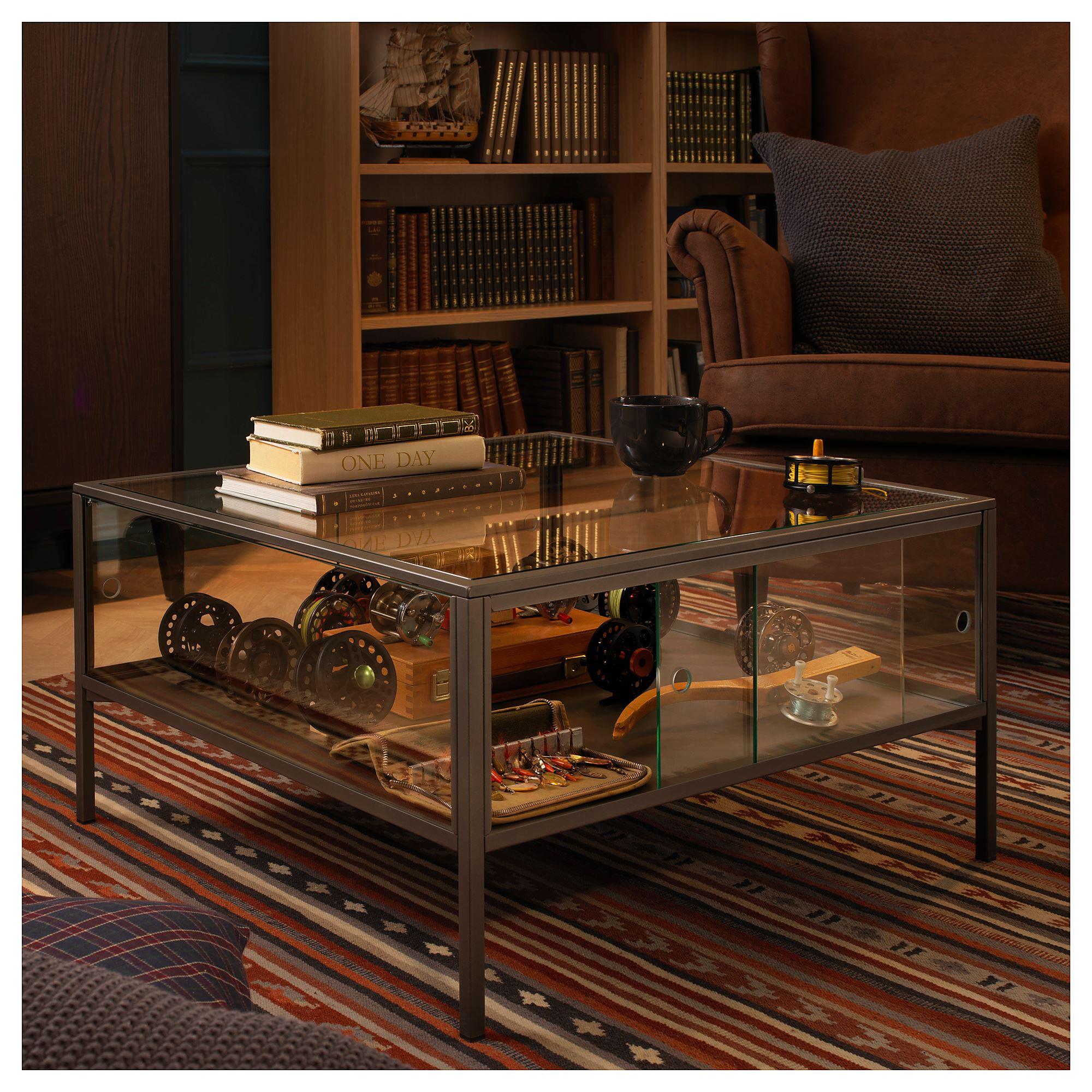 sammanhang coffee table greyglass 70x70 cm  ikea living room