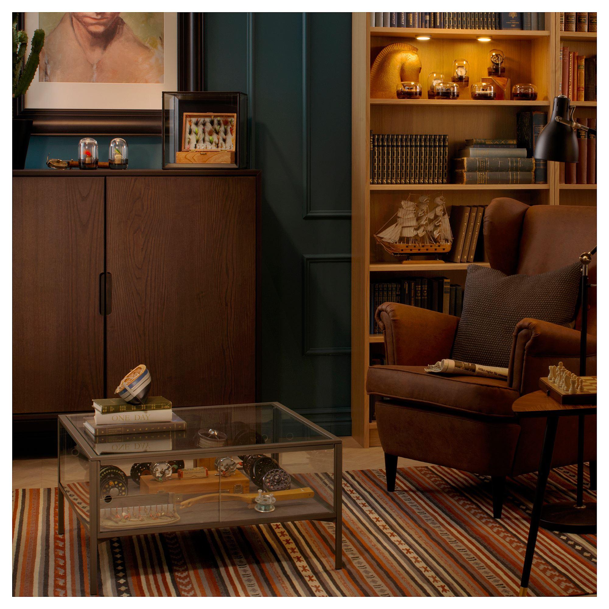 SAMMANHANG coffee table grey/glass 70x70 cm   IKEA Living Room
