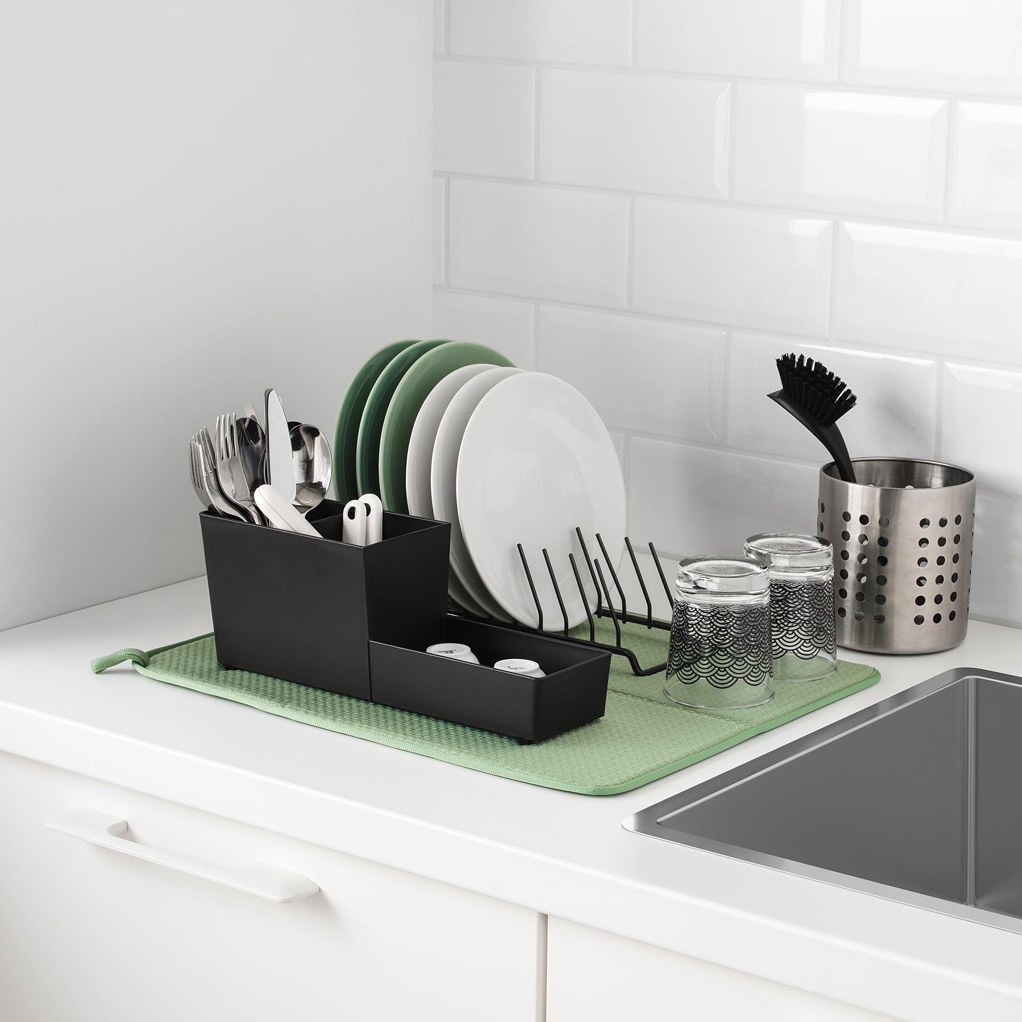 Nysk 214 Ljd Dish Drying Mat Green 44x36 Cm Ikea Cooking