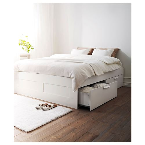 BRIMNES/LÖNSET,double bed with 4 storage boxes
