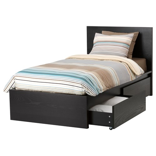 MALM/LURÖY,single bed with 2 storage boxes