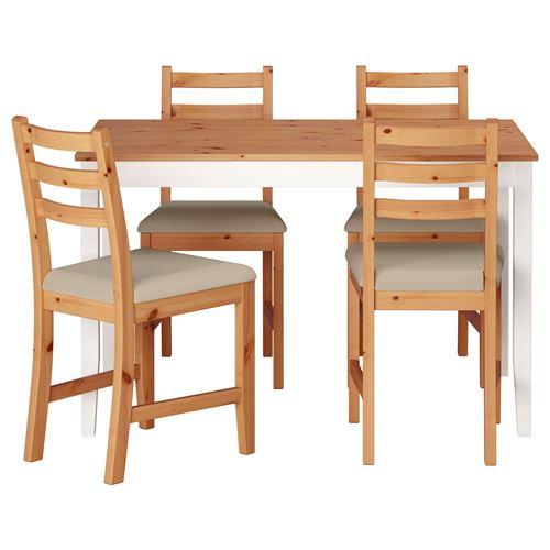 LERHAMN yemek masası ve sandalye seti açık antika vernik