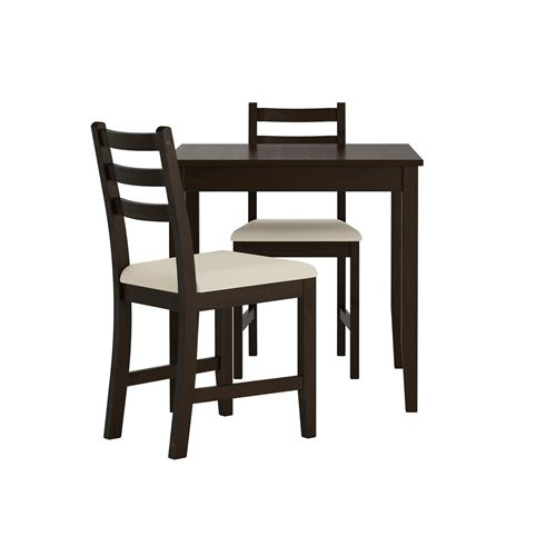 LERHAMN Dining Table And Chairs Black-brown/vittaryd Beige