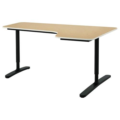 Bekant corner desk right birch veneer black 160x110 cm for Hover tr table