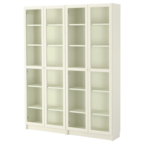 Billy oxberg kitapl k beyaz cam 160x202x28 cm ikea for Muebles billy ikea