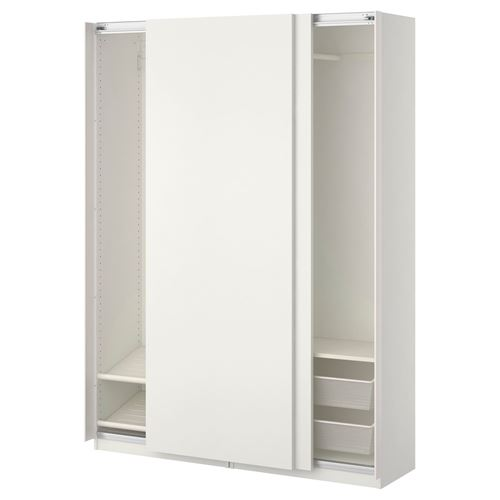 pax hasvik sliding door wardrobe white 150x44x201 cm ikea bedroom. Black Bedroom Furniture Sets. Home Design Ideas