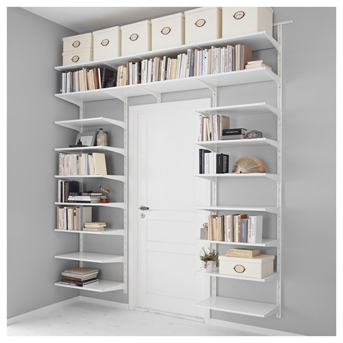 Algot shelving unit white 220x40x196 cm ikea hallway and - Idees de rangement astucieux ...