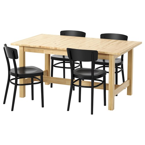 Norden dining table and chairs birchblack 155 cm ikea kitchen nordendining table and chairs watchthetrailerfo