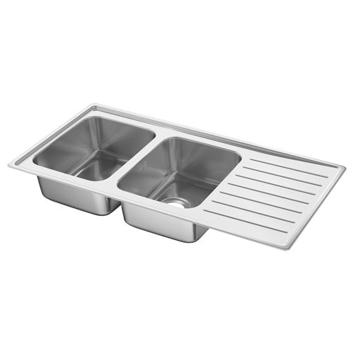 VATTUDALEN,2-bowl insert sink with drainer