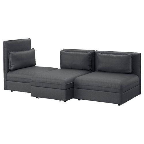 VALLENTUNA 3'lü yataklı kanepe hillared koyu gri | IKEA ...