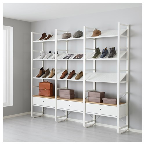 Elvarli Shoe Cabinet White Bamboo 245x40x216 Cm Ikea Hallway